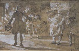 E C HILL, Tavern Interior, heightened sketch, framed and glazed. 12.5 x 8 cm.