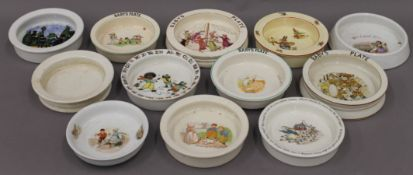 A collection of vintage babies plates.