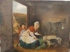 NAIVE SCHOOL (19th century), Dinner Time in the Stables, oil on panels. 52 x 40.5 cm.