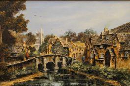 K DOUGLAS (20th century), Bridge Over a River, oil on canvas, framed. 59 x 39 cm.