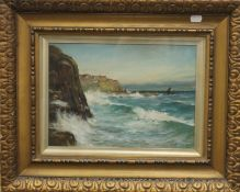 COLIN HUNTER, Coastal Scene, oil, framed and glazed. 33.5 x 23.5 cm.