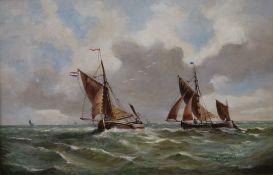 DOROTHY LIGHTFOOT (Dutch School), Shipping Scene, oil on board, framed. 59.5 x 39 cm.