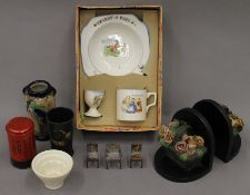 A quantity of miscellaneous items, including a boxed child's tea set.