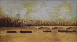 After KLITZ, London, oil on board, indistinctly signed, framed. 32.5 x 18.5 cm.