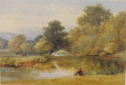 JOHN HENRY MOLE VPRI (1814-1886) British, three framed and glazed watercolours, Sea Fishing,