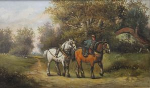 A Victorian oil on canvas, Two Horses on a Country Path, framed. 50 x 29 cm.