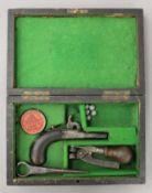 A 19th century Derringer type cased pistol. The case 21 cm wide.