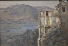 JOHN MILES BENSON, Castle Ruins in a Mountainous Landscape, oil on board, unsigned,