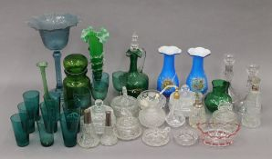 A quantity of coloured and clear glassware.