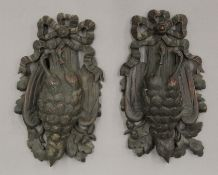Two Victorian carved game bird appliques. 28.5 cm high.