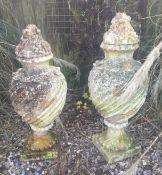 A pair of garden urns.
