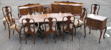 An early/mid 20th century burr walnut dining suite;