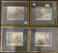Four GEORGE MOORLAND hunting prints, each framed and glazed. 16 x 13 cm.