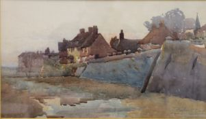 HUBERT COOP RBA (1872-1953) British, Coastal Town, watercolour, signed, framed and glazed.