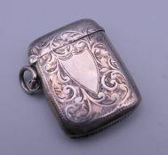 A silver vesta case. 3 cm wide.