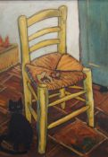After VINCENT VAN GOGH (1853-1890) Dutch, Van Gogh's Chair with Cat and Mouse, oil on canvas,