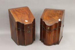 Two George III mahogany knife boxes, one with original fitted interior. The largest 36 cm high.