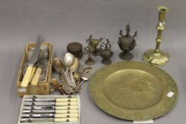 A quantity of various brassware, silver plate and two Indian bronze lidded boxes.