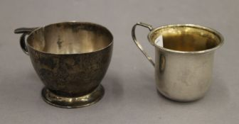 Two silver Christening mugs. Each 5.5 cm high. 5.3 troy ounces.