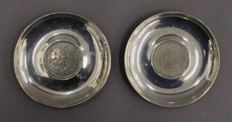 Two boxed coin set silver dishes. Each 10 cm diameter. 4.5 troy ounces total weight.
