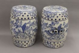 A pair of Chinese blue and white porcelain barrel seats. Each 44 cm high.