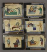 Six 19th century Chinese rice paper paintings. Each 11.5 x 8.5 cm.