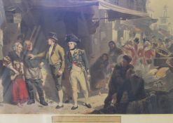 After FRED ROE (1895), Bound for Trafalgar's Bay, lithograph, framed and glazed. 102 x 76 cm.
