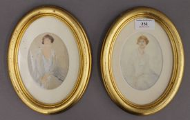 E VON HUTTENBRENNER, two early 20th century Portraits of a Lady, watercolours, one on paper,