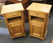 A pair of pine pot cupboards. Each 40 cm wide.