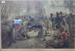 After W H OVERAND (1897), The Hero of Trafalgar, lithograph, framed and glazed. 94 x 67 cm.