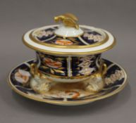 A 19th century porcelain tureen on stand, possibly Grainger Worcester,