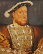 After HOLBEIN, oil on canvas, Henry VIII, framed. 39.5 x 49.5 cm.