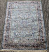 A duck egg blue ground full pile Kashmir tree of life rug. 170 x 120 cm.