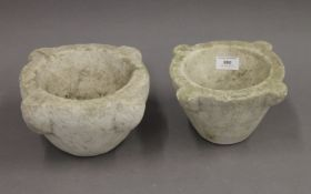 Two marble mortars. Largest 24 cm wide x 12.5 cm high. Smallest 21.5 cm wide x 12 cm high.