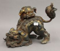 A Chinese bronze double dog-of-fo censer. 23.5 cm high.