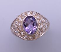 A silver amethyst ring. Ring size O.