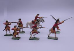 A group of lead hand painted military soldiers. The largest 5.5 cm high.
