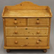 A Victorian pine chest of drawers. 85 cm wide.