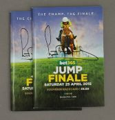 Two 2015 Jump Finale souvenir race cards, signed by A P McCoy (Sir Anthony McCoy).