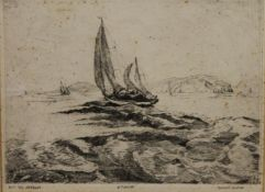SIMON WINCH, Off The Needles, etching, framed and glazed. 28 x 21 cm.