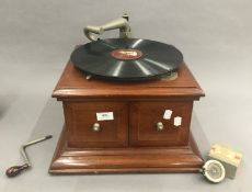 A His Masters Voice gramophone and accessories, etc.