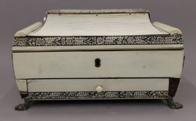 An early 19th century Vizagapatam ivory sewing box. 27 cm wide.