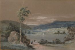 19TH CENTURY SCHOOL, Figures Before a Lake in a Mountainous Landscape, watercolour,