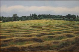 LINDA RAMSAY (20th/21st Century) British (AR), The Last of the Hay, Brampton, oil on canvas,