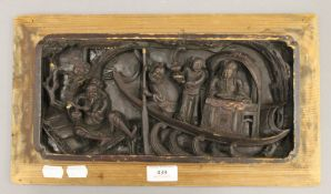 A late 19th/early 20th century Chinese carved panel. 39 cm wide.