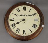 A Victorian Clarke & Son wall clock. 46.5 cm diameter.