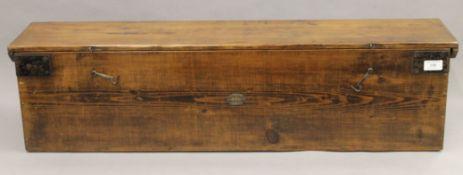A 19th century Geo G Bussey pine croquet carrying box. 95.5 cm long.