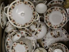 A box of miscellaneous ceramics, including a dinner service.