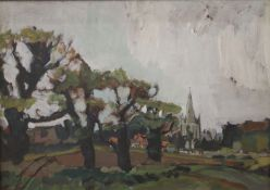 HERBERT KNIGHTS (20th/21st century) British, County Church Beyond the Trees, oil on board, unsigned,