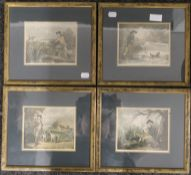 Four GEORGE MOORLAND shooting prints, each framed and glazed. 16 x 13 cm.